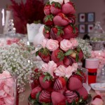 Here's Adjoa's chocolate strawberry tower