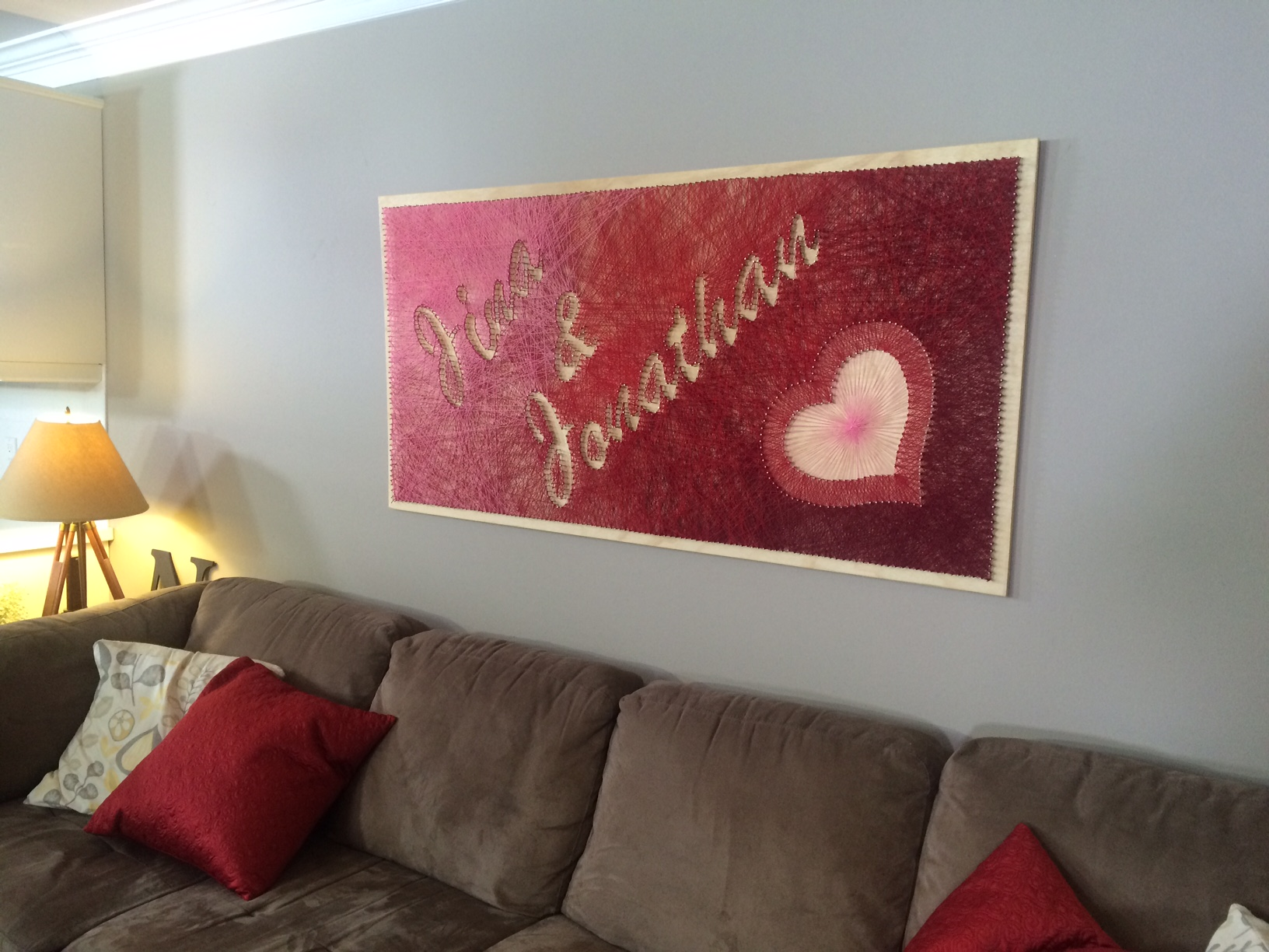 The string art hanging in our star couple's house