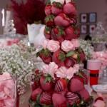 Here's Adjoa's chocolate strawberry tower